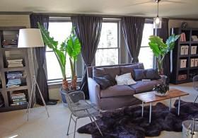欧式风格客厅落地布艺窗帘装修效果图