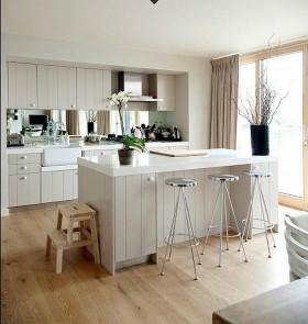 17万打造120平欧式田园风格开放式厨房橱柜装修图片