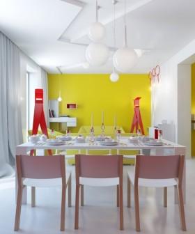 90平米小户型鲜艳的黄色餐厅背景墙装修效果图