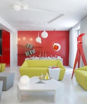 90平米小户型现代几何型客厅装修效果图大全