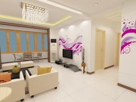 两室一厅玄关装修效果图 电视背景墙装修
