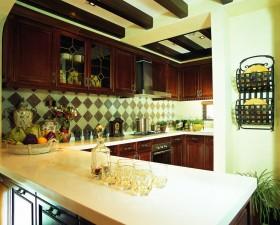松山湖花园东南亚风格厨房橱柜装修效果图