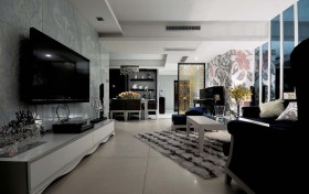 两房一厅黑白的典雅的现代风格客厅电视背景墙装修效果图