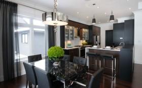三居室现代暗色调餐厅橱柜装修效果图大全2012图片