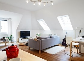50平方米小户型公寓 客厅阁楼装修效果图