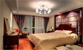 简雅欧式三居室卧室背景墙装修效果图大全2012图片