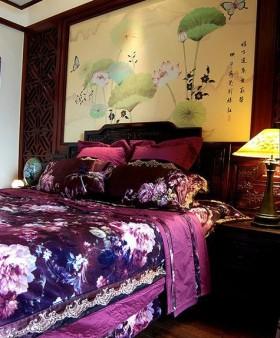 17万打造中国风主题中式风格卧室背景墙装修效果图大全