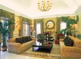 美式田园风格 复式客厅吊顶装修效果图