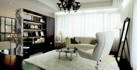 白色元素的后现代装修风格书房博古架图片