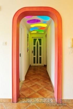 地中海别墅彩色走廊天花吊顶装修设计