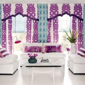 紫色客厅窗帘效果图