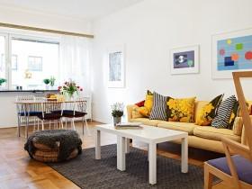54平公寓欧式风格客厅背景墙装修效果图大全