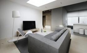 90平白色简约的客厅装修效果图