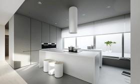 90平白色简约的厨房装修效果图