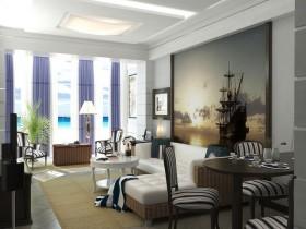 中惠香樟绿洲地中海客厅装修设计
