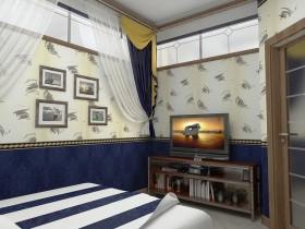 中惠香樟绿洲卧室电视背景墙地中海装修设计