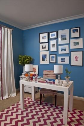 地中海书房蓝色照片背景墙装修图片