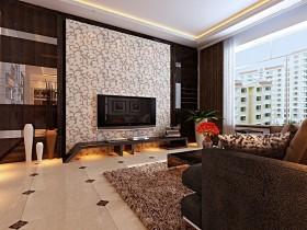 现代时尚三居室客厅电视背景墙装修效果图大全