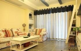 地中海风格客厅窗帘装修效果图片