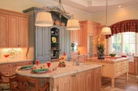 复式楼田园风格厨房橱柜装修效果图大全