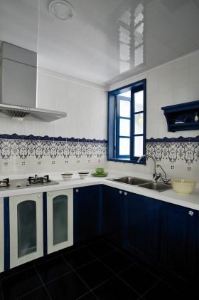 地中海厨房整体橱柜设计效果图