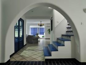 蓝色地中海别墅过道装修设计效果图