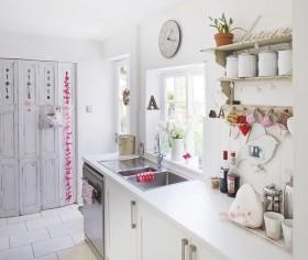 90平小户型浪漫田园风格厨房橱柜装修效果图