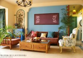 两室两厅田园风格客厅背景墙装修效果图大全2012图片