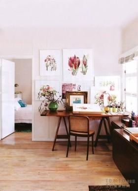 艺术画背景墙书房装修设计图片