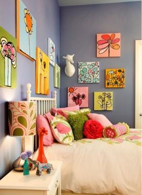 公主儿童房照片背景墙装修效果图