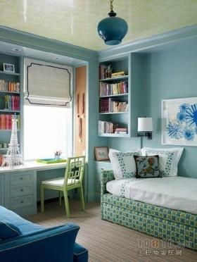 蓝色卧室书房书柜吊顶装修设计