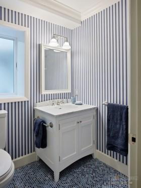 卫生间蓝白条纹壁纸贴图