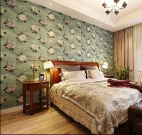 美式田园卧室背景墙纸装修效果图