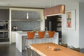美式风格两室一厅餐厅橱柜吧台装修效果图
