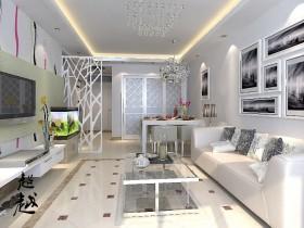 丽都东镇时尚二居室客厅吊顶装修效果图大全2012图片