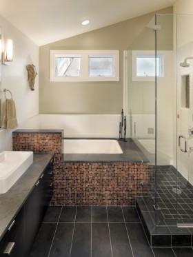 复式楼马赛克瓷砖卫生间装修效果图大全-卫生间装修效果图欣赏 卫生