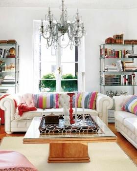 现代风格客厅吊顶装修效果图 白色沙发茶几图片