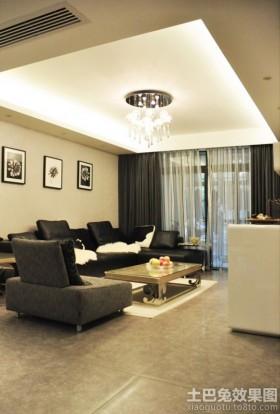 现代风格两室两厅客厅吊顶效果图