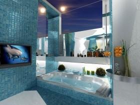 蓝色地中海风格厕所浴缸装修效果图大全