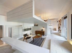纯白色的简约风格客厅装修效果图大全