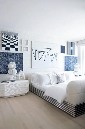 沁凉之感的小户型卧室背景墙装修效果图大全