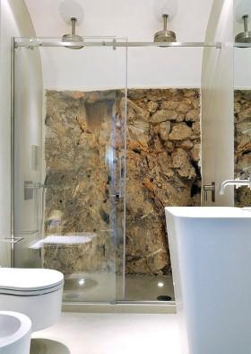 二室一厅创意岩石卫生间背景墙装修效果图