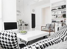 80平小户型黑白简约客厅电视背景墙装修效果图大全