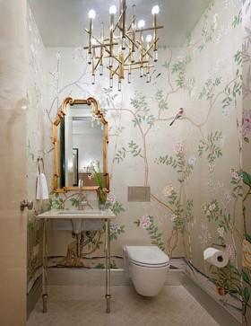 现代简约装修卫生间壁纸实景图