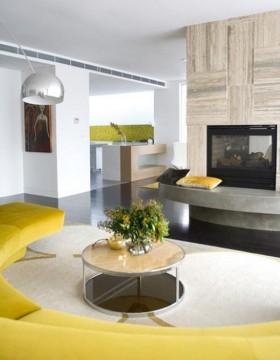 140平四居室创意圆弧型客厅电视背景墙装修效果图大全