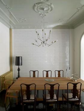 80平四居田园家居餐厅吊顶装饰