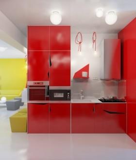 90平小户型现代婚房喜庆的厨房装修效果图大全