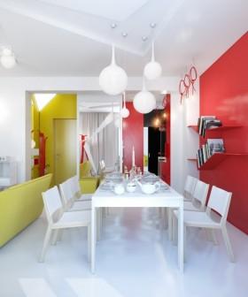90平小户型现代婚房餐厅装修效果图大全