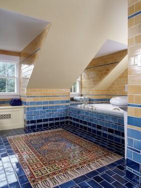 7万打造清新地中海风格卫生间瓷砖装修效果图大全