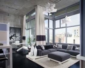 70㎡小戶型現代風格素雅的客廳飄窗裝修效果圖大全